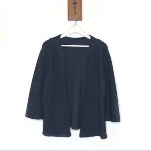 Eileen Fisher black merino wool open sweater